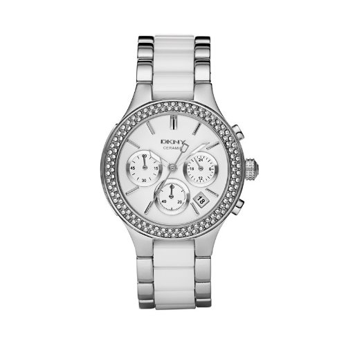 DKNY Chronograph Steel and White Ceramic Ladies Watch NY8181
