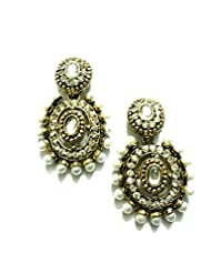 Ethnic Fashion Earrings With Pearl And Coloured Crystals In Gold Finish, White
