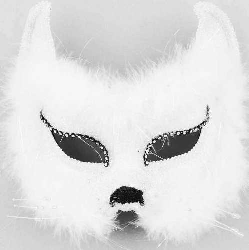 Forum Mardi Gras Costume Masquerade Cat Half Mask With Fur and Rhinestones