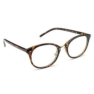 PenSee Retro Oval Eyeglasses Bold Frame Clear Lens Round Glasses (fleck)