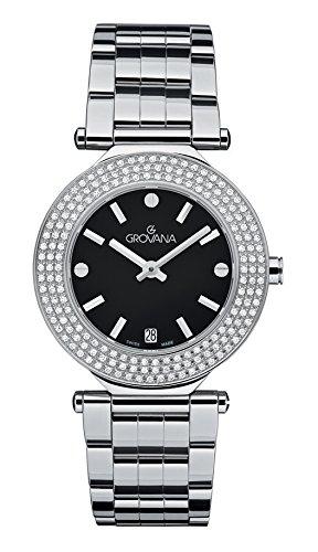 Grovana 5079.7137Swiss Reloj de mujer de cuarzo con Negro esfera analógica pantalla y plata pulsera de acero inoxidable