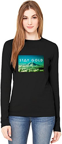 Stay Gold Hipster TUMBLR T-Shirt da Donna a Maniche Lunghe Long-Sleeve T-shirt For Women  100% Premium Cotton  DTG Printing  XX-Large