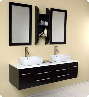 Fresca Bellezza Espresso Modern Double Vessel Sink Bathroom Vanity w/ Ceramic Vessel Sinks - FVN6119ES