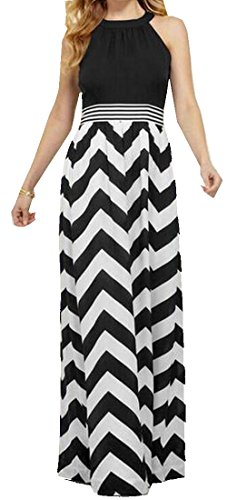 ForeverGod Women's Slim Fit Stripe Printed Big Hem Halter Dress Aspicture M