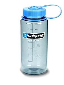 Nalgene BPA Free Tritan Wide Mouth Water Bottle, 1-Quart, Gray with Blue Lid