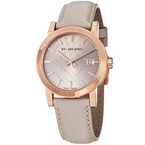 Burberry Women's BU9109 Beige Leather Strap Watch | Amazon.com