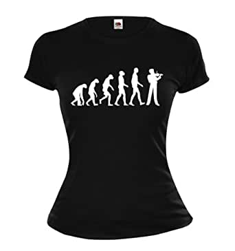 Girlie T-Shirt The Evolution of violin-XS-Black-White