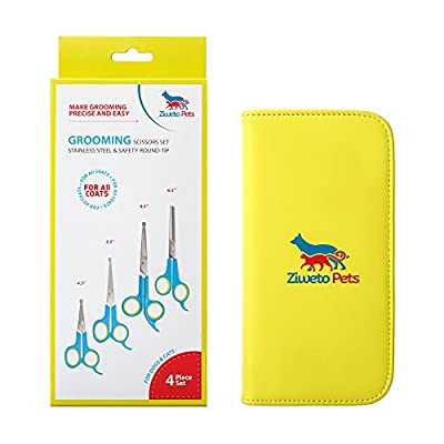 ZIWETO PETS Premium Quality Grooming scissors set of 4 pieces for dogs and cats with rounded tips (For Body, Face, Ear, Nose, Paw)