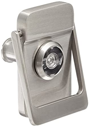 Rockwood brass door knocker with door viewer 2 1 8 width x 3 height satin nickel - Door knocker with peep hole ...