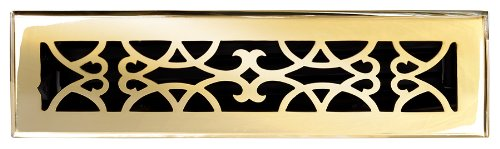 Brass Elegans 120B PLB Solid Cast Brass Victorian 2-1/4-Inch by 12-Inch Floor Register, Polished Brass Finish Model