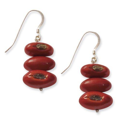 Botanical Harvest Sterling Silver Colorin Bean Simple Earrings