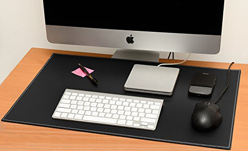Leather desk pad for computer, mouse or laptop-stylish mat cover with perfect writing surface-reversible 2 color design-color black to white-size 16X24 inches Cherry Wood Desk Accessories