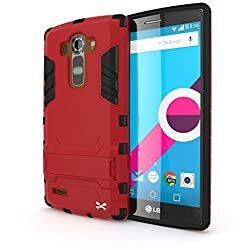 G4 Case, Ghostek Armadillo 2.0 Series for LG G4 Slim Premium Protective Armor Hybrid Impact Fitted Smooth Hard Soft Cover Carrying Case | Tempered Glass Screen Protector | Kickstand | Ultra Fit | Lifetime Warranty Exchange (Red)