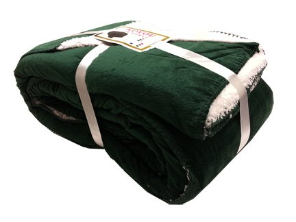 Koyou Super Soft Forest Green Borrego Blanket Throw Queen Or Full Size Bed