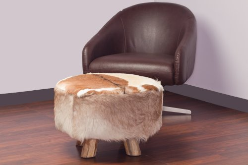 Large Round Ottoman in Brown and White Natural Cowhide / Leather