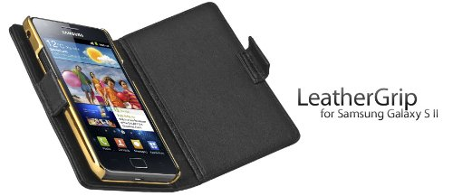 ION-factory Samsung Galaxy S2 i9100 LeatherGrip leather Case black レザーグリップ レザーケース ブラック i1055-LBK048