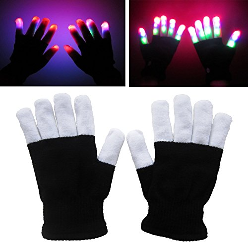 RexRod High Quality 7 colors light show LED Gloves Rave Light Finger Lighting Flashing Glow Mittens(whole finger)