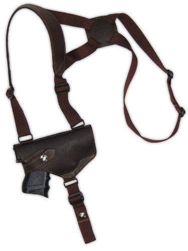 Barsony Brown Leather Cross Harness Shoulder Holster for Compact Size 9mm 40 45 Pistols by Barsony Holsters and Belts