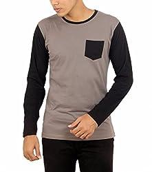 Younsters Choice Men's Cotton T-Shirt (YC-5809_Grey Black_Medium)