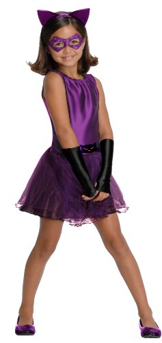 DC Super Villain Collection Catwoman Girl's Costume with Tutu Dress, Medium