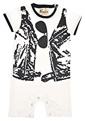 Lil Penguin Short Sleeved Boy romper with Jacket and goggles print