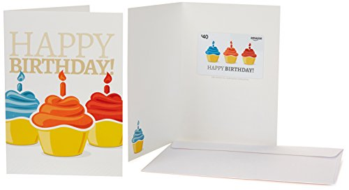 Amazon.com $40 Gift Card in a Greeting Card (Birthday Cupcake Design)