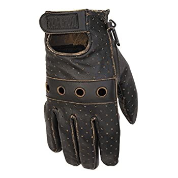 Black Brand Men's Leather Vintage Knuckle Motorcycle Gloves (Black, Large)