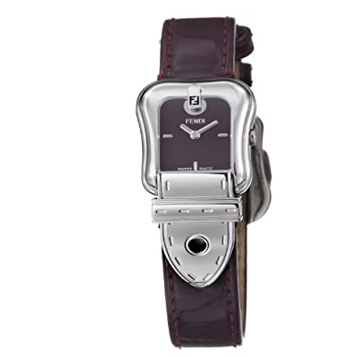 Fendi B. Fendi Ladies Shiny Dark Red Leather Strap Buckle Shaped Watch F370277 from Fendi