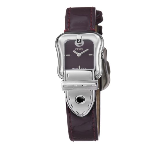 Fendi B. Fendi Ladies Shiny Dark Red Leather Strap Buckle Shaped Watch F370277