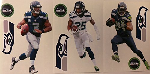 Seattle-Seahawks-FATHEAD-2015-Team-Set-of-9-Official-NFL-Vinyl-Wall-Graphics-WILSON-SHERMAN-LYNCH-Each-Player-Graphic-is-7-inches-tall