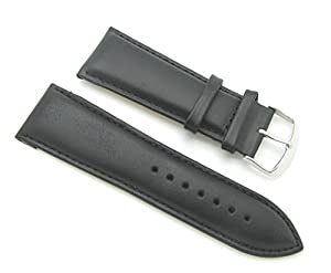 28mm Quality Thick Leather Padded Black Watch Band with Spring Bars