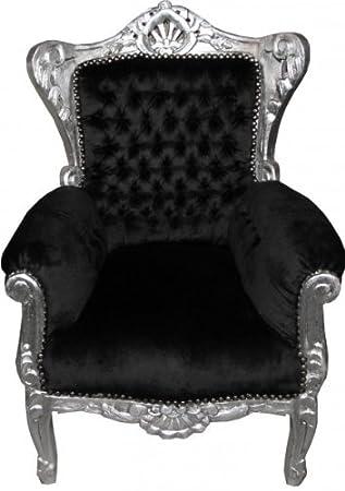 Casa Padrino Baroque Kids Armchair Black / Silver