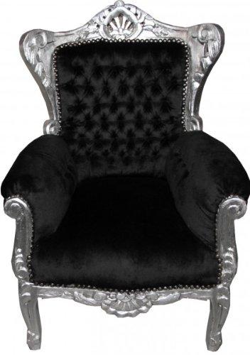 Casa-Padrino-Barock-Kinder-Sessel-Schwarz-Silber