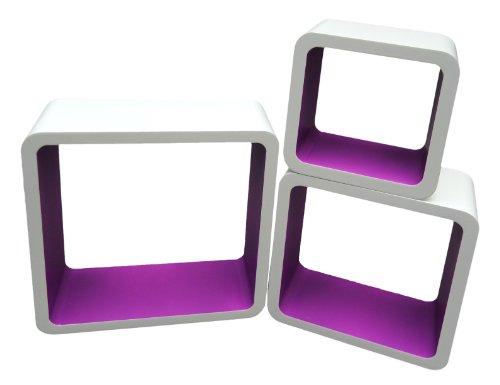 3er Set Lounge Cube Regal Design Retro 70er Wandregal Hängeregal in Weiß Lila