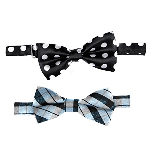 Little Boy Adjustable Pre-tied Bow Tie Set of 2 - Blue and Black