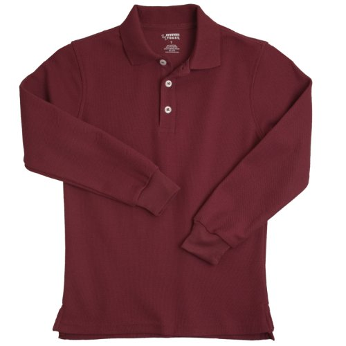 French Toast School Uniforms Long Sleeve Pique Polo Boys Burgundy 4T front-725563