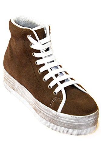 JC PLAY, CALZATURE DONNA Sneakers alta scamosciato Marrone