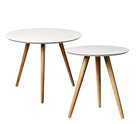 BLOOMINGVILLE - Bloomingville mesa baja madera blanco set 2