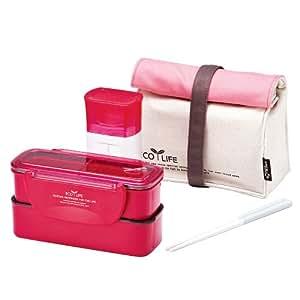 Lock & Lock Brotzeitbox Slim Lunch Box Bento w/Bottle Set - HPL740P1, Pink