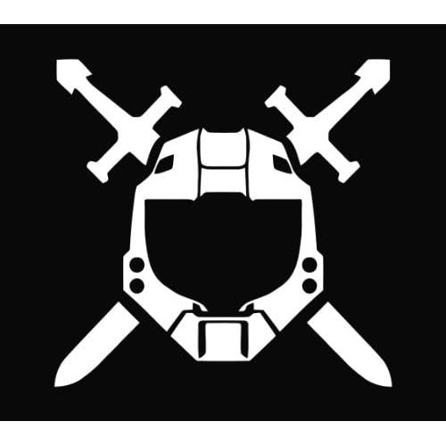 Halo Spartan Helmet Die Cut Vinyl Decal Sticker   5.5 White