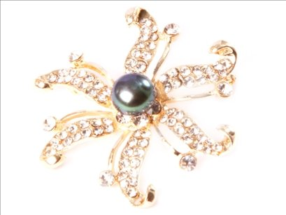 9-10mm black freshwater pearl beads with yellow gold plated starfish brooch 48mm