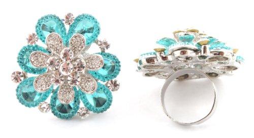 Stylish Ladies Blue Three Layered Flower Metal Adjustable Finger Ring