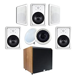 "7.1 In-Wall/Ceiling 8"" Speaker System (HT-87) w/Maple 12"" Powered Home Theater HD Series Sub (HDSUB-12M) by Acoustic Audio"