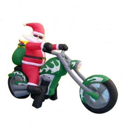Santa on a motorcycle inflatables christmas wikii