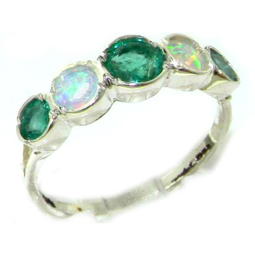 Solid English Sterling Silver Womens Emerald & Opal Eternity Band Ring - Size 12 - Finger Sizes 5 to 12 Available - Suitable as an Anniversary ring, Engagement ring, Eternity ring, or Promise ring