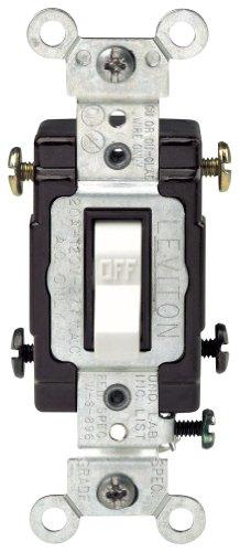 Leviton Cs220-2W 20-Amp, 120/277-Volt, Toggle Double-Pole Ac Quiet Switch, Commercial Grade, White