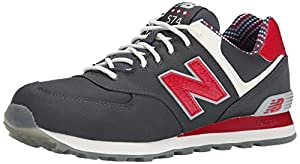 New Balance Men's ML574 Street Beat Pack Running Shoe, Dark Grey/Red, 14 D US