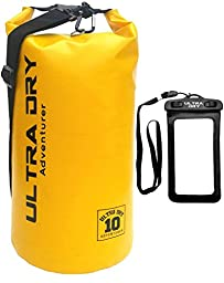 Ultra Dry 10L Waterproof Bag and Phone Dry Bag with Adjustable Shoulder Strap