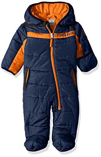 U.S. Polo Assn. Baby Boys' Sporty Bubble Pram, Navy/Orange Zippers, 6-9 Months