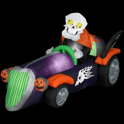 Gemmy Airblown Halloween 7.5 Ft. Long Inflatable Halloween Skelly Racer Car front-808653